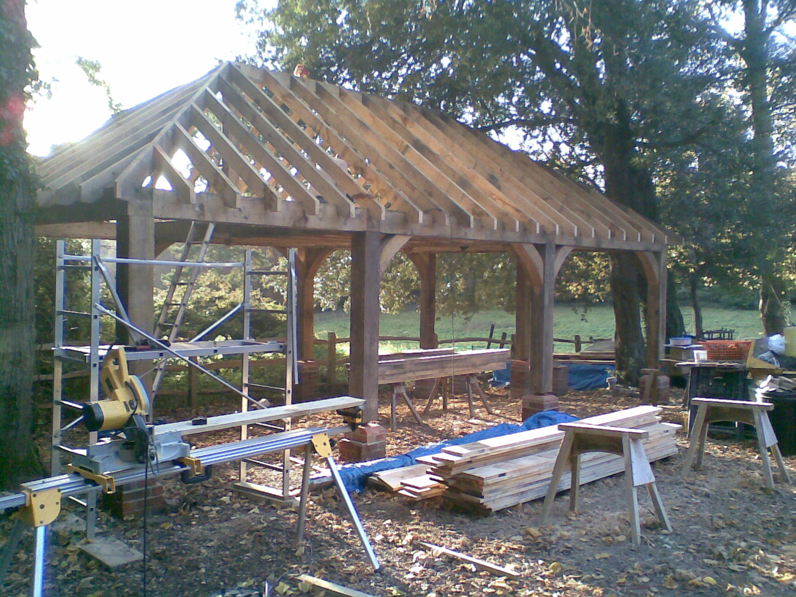 Bespoke Oak Framed Carport, Extension and Raised Decking