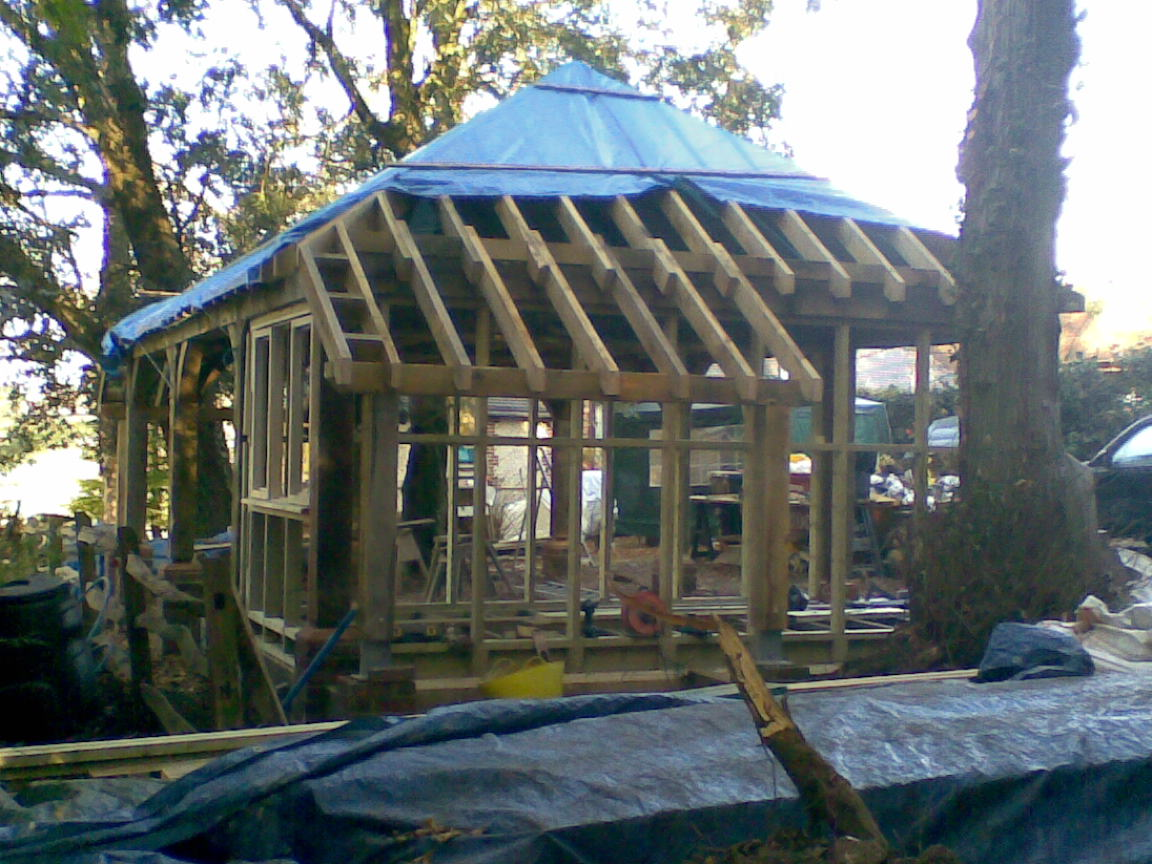 Bespoke Oak Framed Carport, Extension and Raised Decking